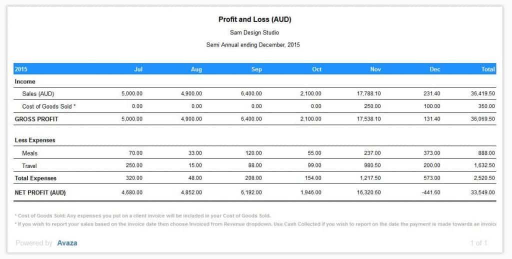Profit & Loss Report Details