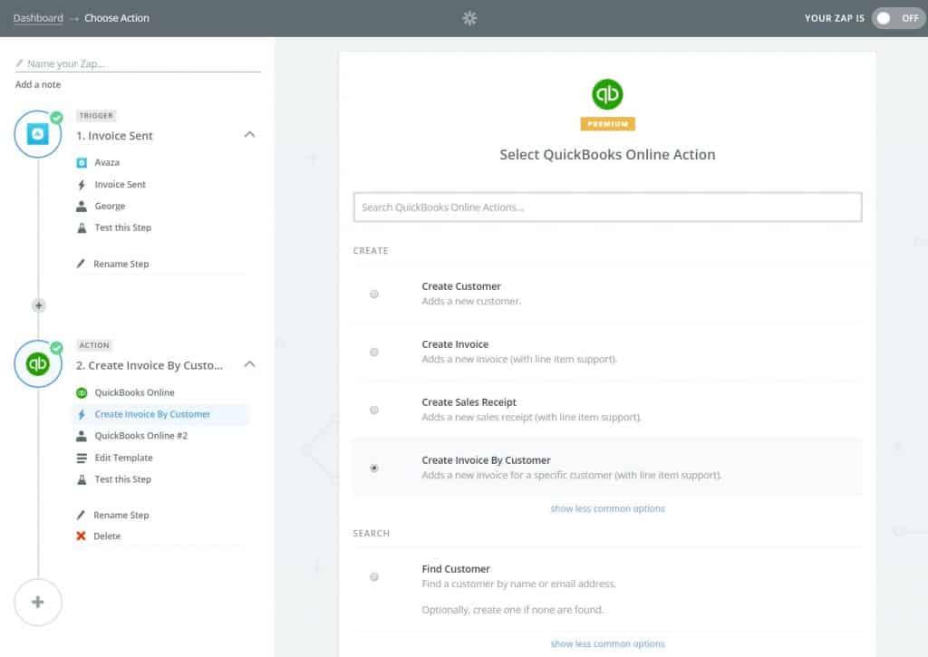 Quickbooks Create Invoice Action