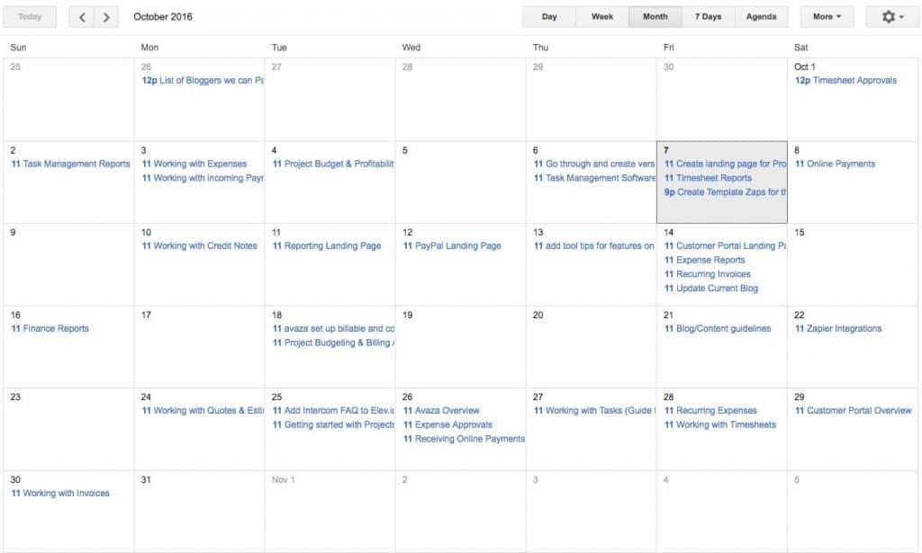 Avaza iCal Integration Calendar