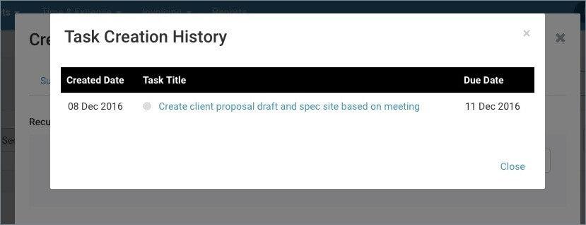 Recurring Task history