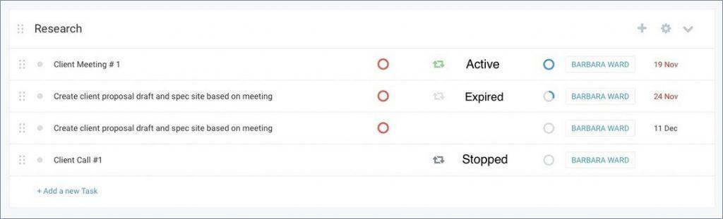 Recurring Tasks Icons