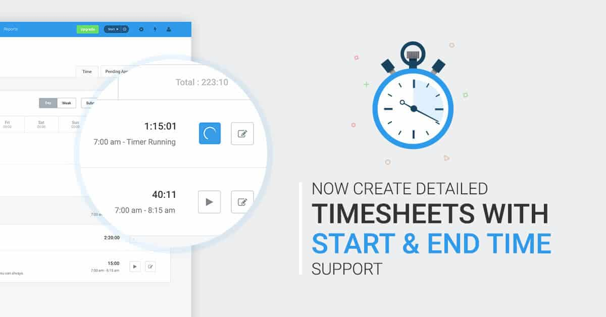 Start/end times for timesheets